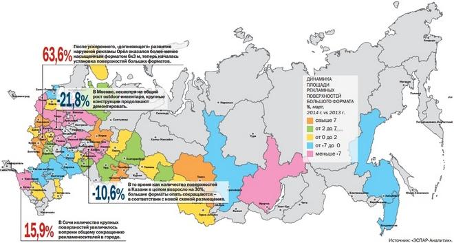 количество крупноформатных конструкций в России сокращается